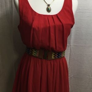 A.Byer medium red pull over belted dress
